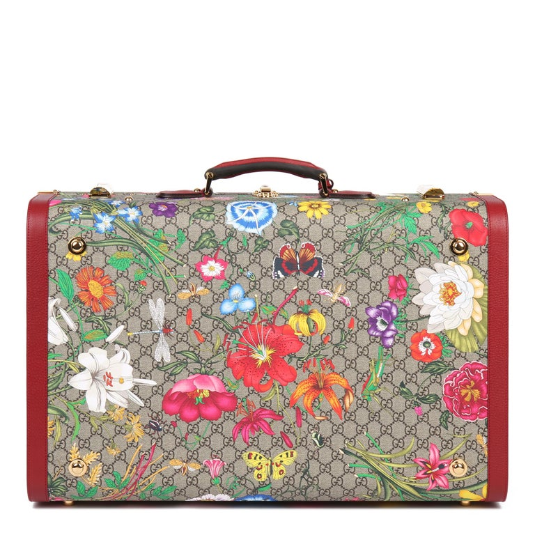 Women's or Men's 2021 Gucci GG Flora Coated Canvas & Red Pigskin Leather Large Suitcase Trunk   For Sale