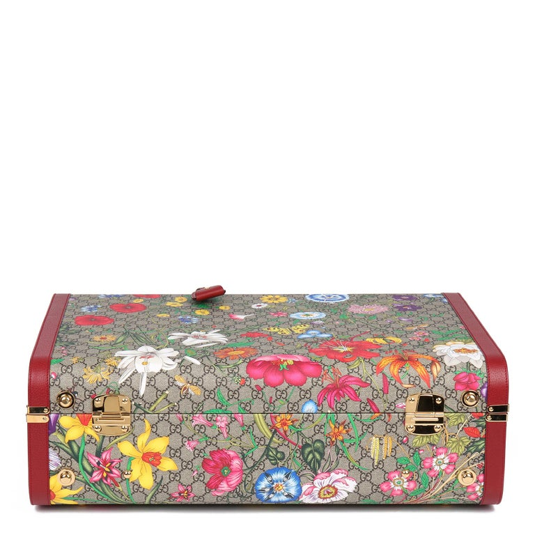 2021 Gucci GG Flora Coated Canvas & Red Pigskin Leather Large Suitcase Trunk   For Sale 1