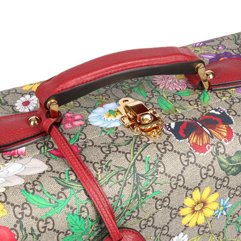 2021 Gucci GG Flora Coated Canvas & Red Pigskin Leather Large Suitcase Trunk   For Sale 2