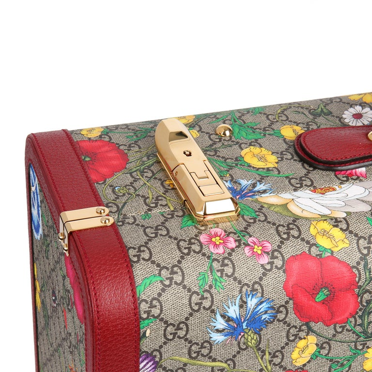 2021 Gucci GG Flora Coated Canvas & Red Pigskin Leather Large Suitcase Trunk   For Sale 3