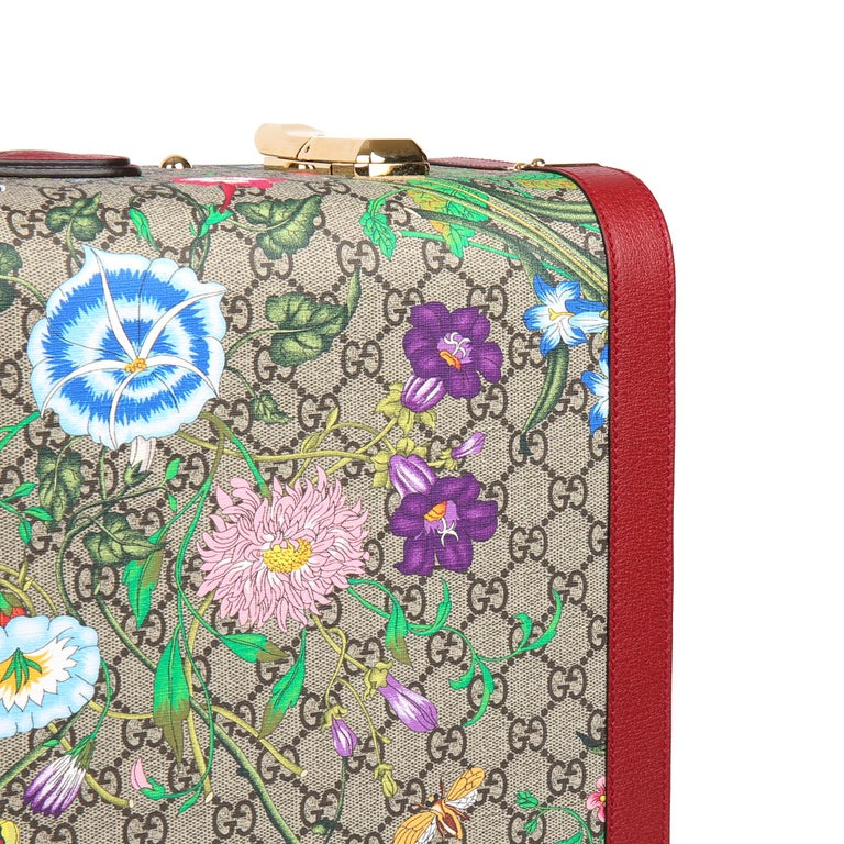2021 Gucci GG Flora Coated Canvas & Red Pigskin Leather Large Suitcase Trunk   For Sale 4