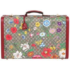 2021 Gucci GG Flora Coated Canvas & Red Pigskin Leather Large Suitcase Trunk