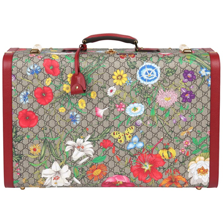 2021 Gucci GG Flora Coated Canvas & Red Pigskin Leather Large Suitcase Trunk   For Sale