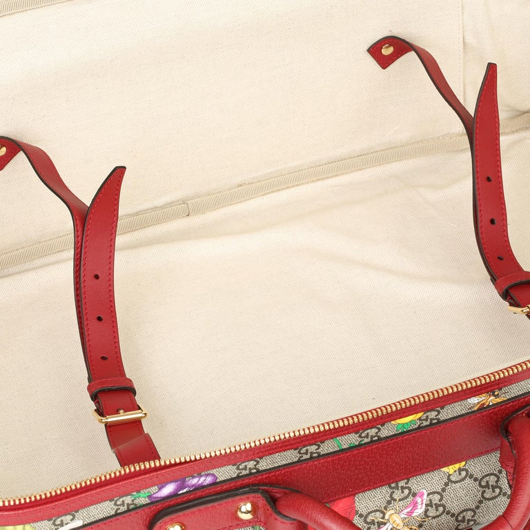 2021 Gucci GG Flora Coated Canvas & Red Pigskin Leather Suitcase  For Sale 5