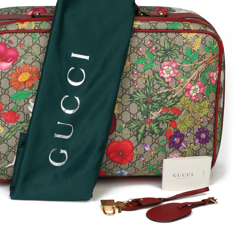 2021 Gucci GG Flora Coated Canvas & Red Pigskin Leather Suitcase  For Sale 6