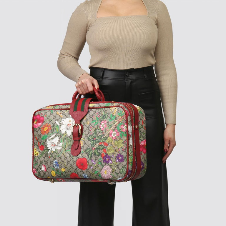 2021 Gucci GG Flora Coated Canvas & Red Pigskin Leather Suitcase  For Sale 7
