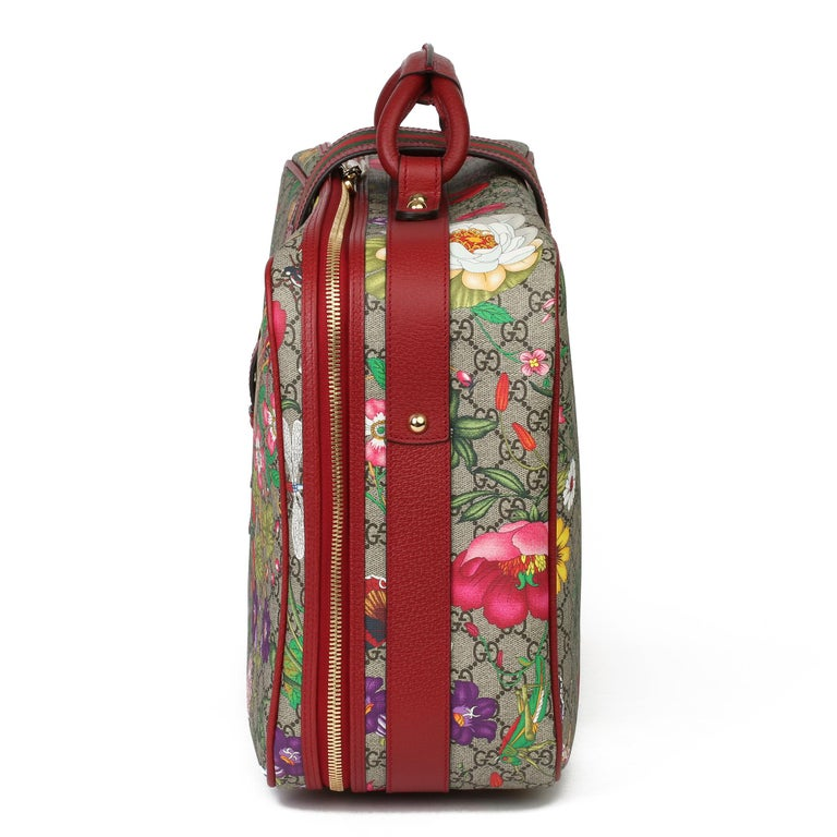 Brown 2021 Gucci GG Flora Coated Canvas & Red Pigskin Leather Suitcase  For Sale