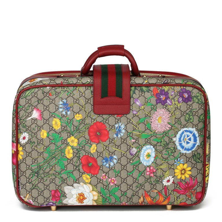 2021 Gucci GG Flora Coated Canvas & Red Pigskin Leather Suitcase  In New Condition For Sale In Bishop's Stortford, Hertfordshire