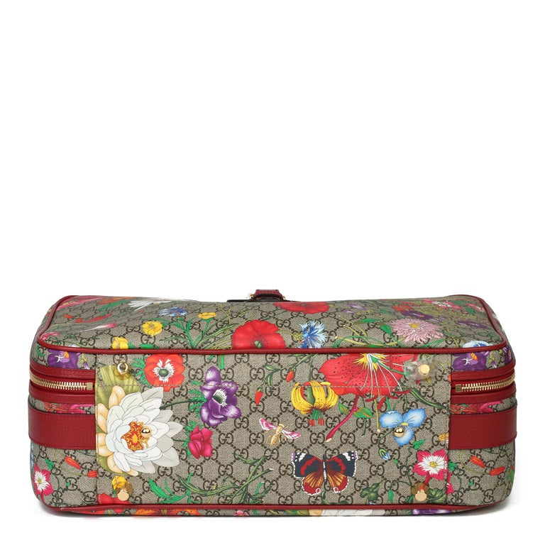 Women's or Men's 2021 Gucci GG Flora Coated Canvas & Red Pigskin Leather Suitcase  For Sale