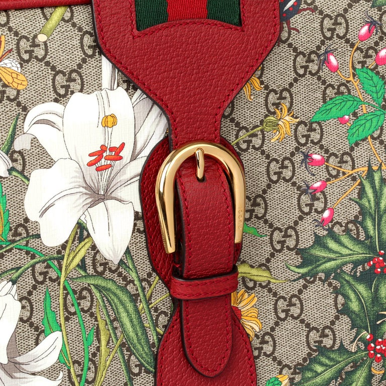2021 Gucci GG Flora Coated Canvas & Red Pigskin Leather Suitcase  For Sale 1