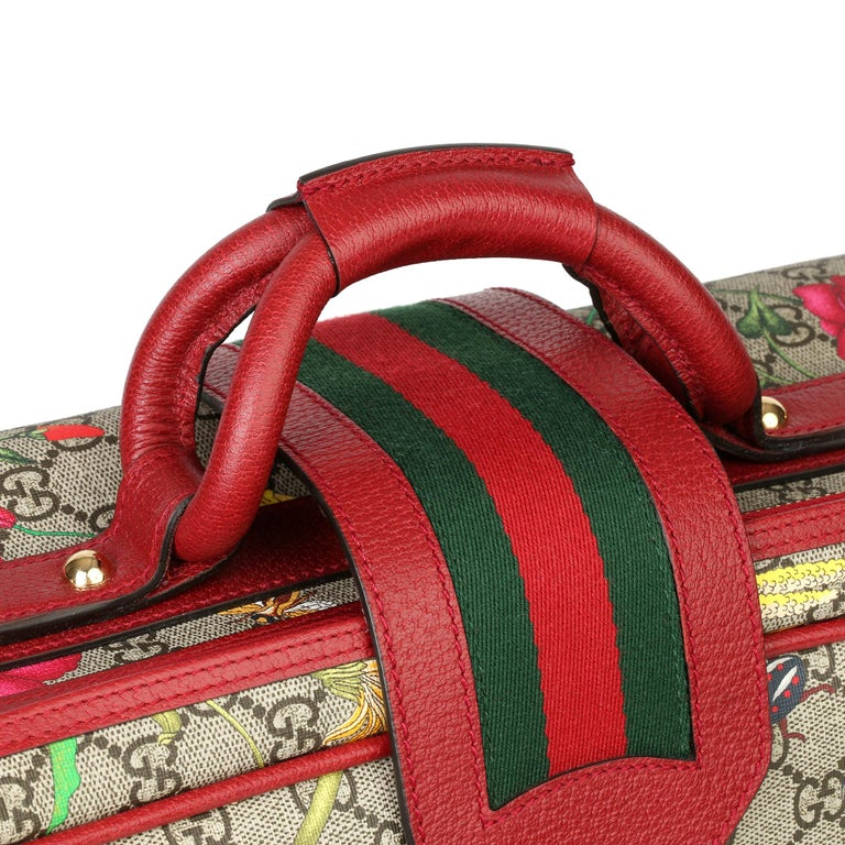 2021 Gucci GG Flora Coated Canvas & Red Pigskin Leather Suitcase  For Sale 2