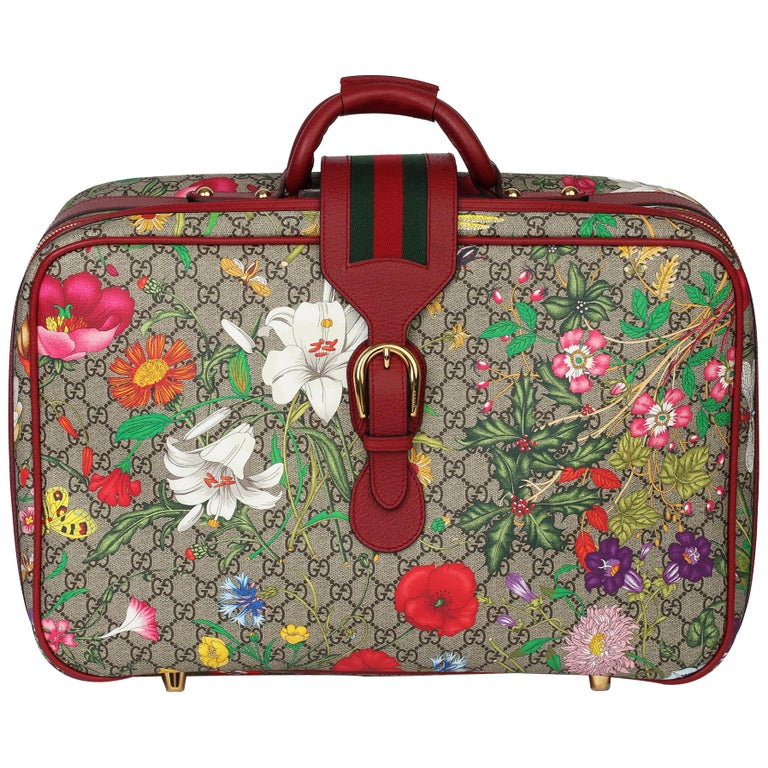 2021 Gucci GG Flora Coated Canvas & Red Pigskin Leather Suitcase  For Sale