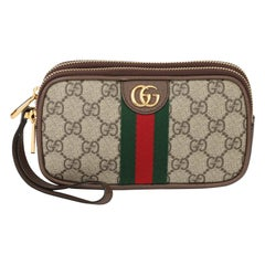 2021 Gucci GG Supreme Canvas & Brown Pigksin Leather Web Ophidia Wristlet