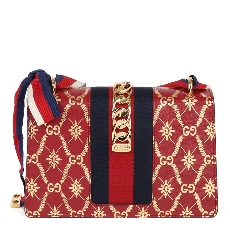 2021 Gucci Red & Gold Calfskin Leather Top Handle Small Sylvie  For Sale 1