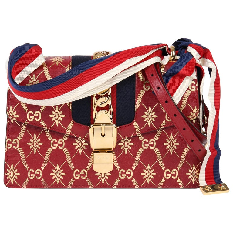 2021 Gucci Red & Gold Calfskin Leather Top Handle Small Sylvie  For Sale
