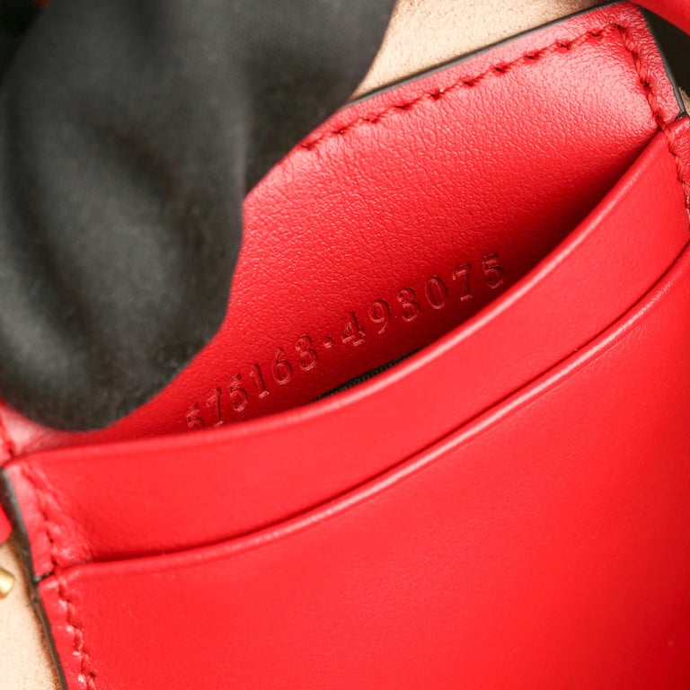 2021 Gucci Red Quilted Calfskin Leather Mini Marmont Bucket Bag For Sale 6