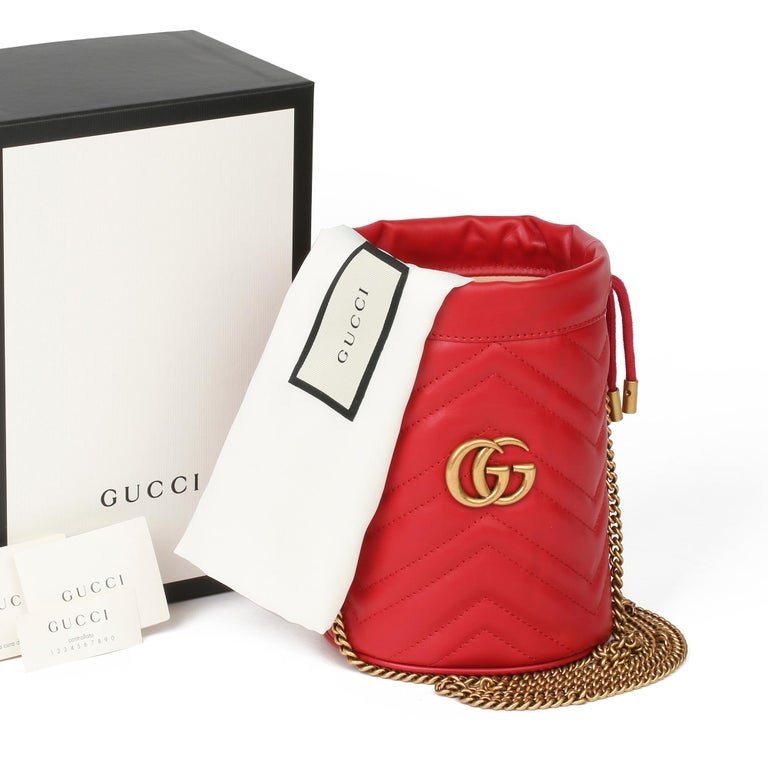 2021 Gucci Red Quilted Calfskin Leather Mini Marmont Bucket Bag For Sale 8