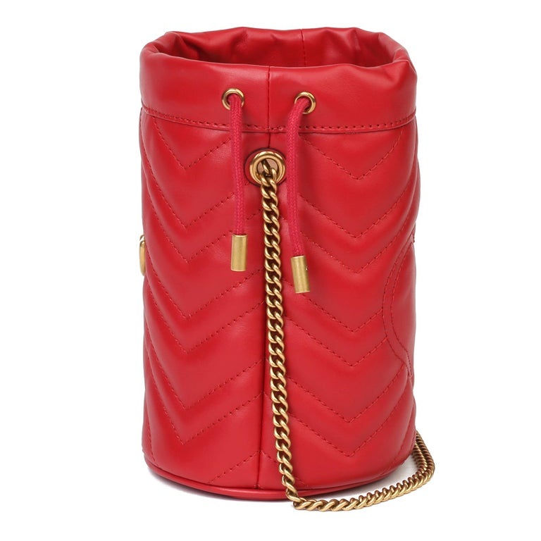 Women's 2021 Gucci Red Quilted Calfskin Leather Mini Marmont Bucket Bag For Sale