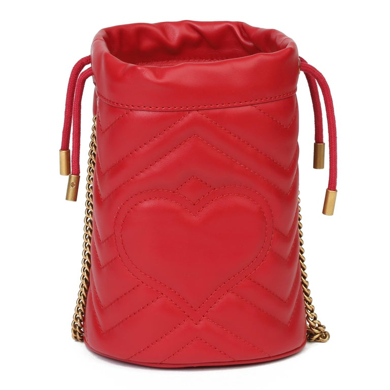 2021 Gucci Red Quilted Calfskin Leather Mini Marmont Bucket Bag For Sale 1