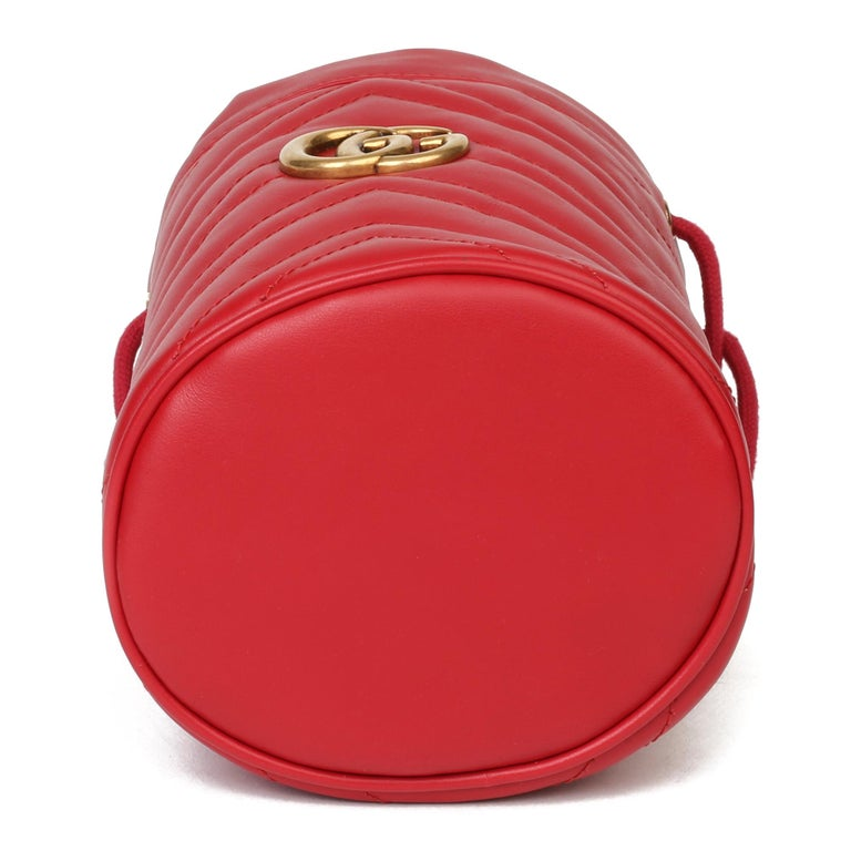 2021 Gucci Red Quilted Calfskin Leather Mini Marmont Bucket Bag For Sale 2