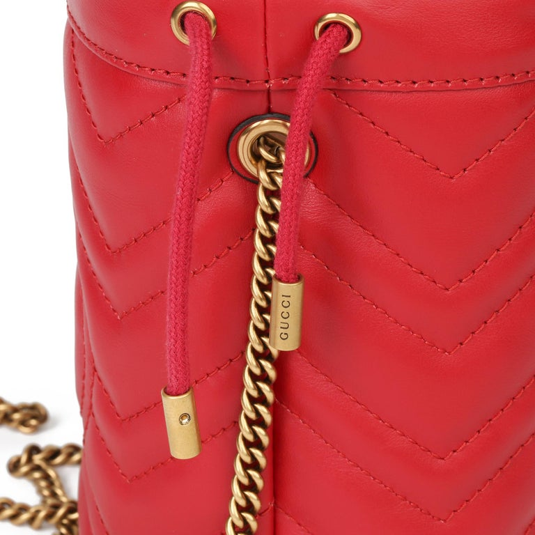 2021 Gucci Red Quilted Calfskin Leather Mini Marmont Bucket Bag For Sale 4