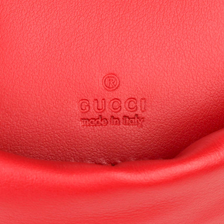 2021 Gucci Red Quilted Calfskin Leather Mini Marmont Bucket Bag For Sale 5