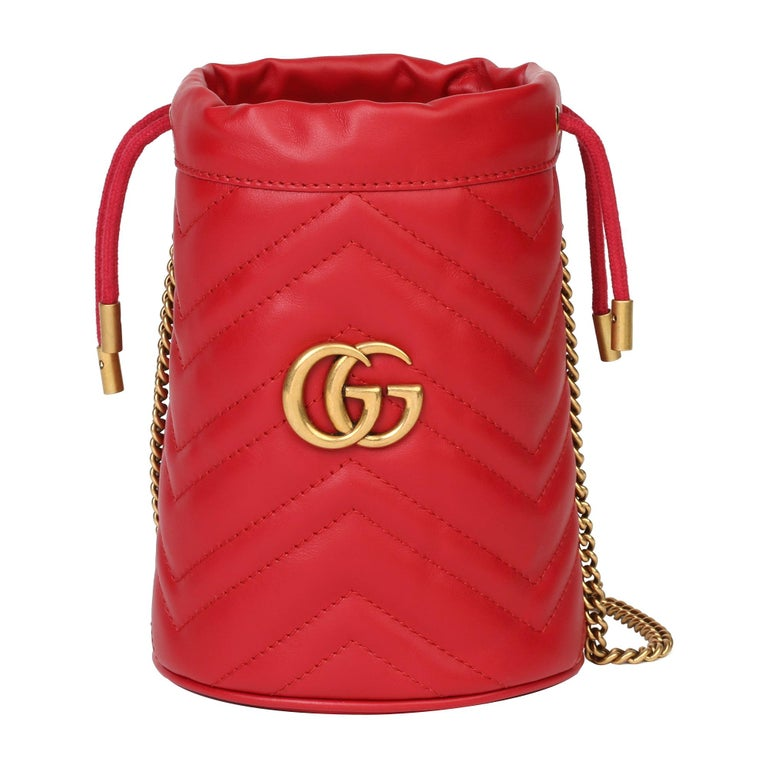 2021 Gucci Red Quilted Calfskin Leather Mini Marmont Bucket Bag For Sale