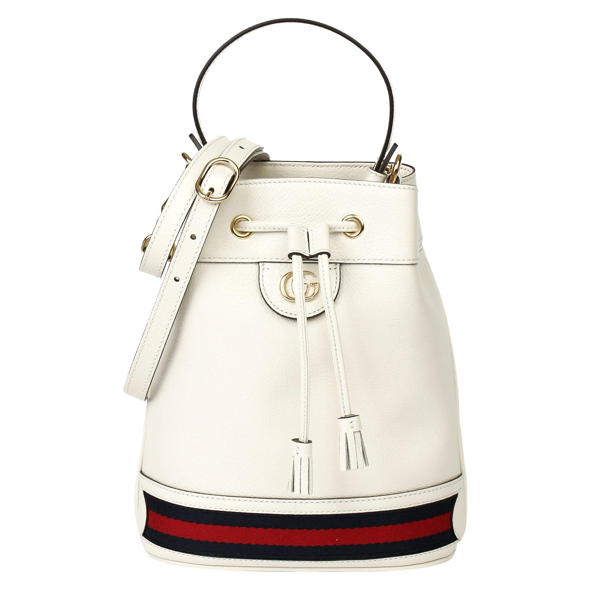 2021 Gucci White Pigskin Leather Web Orphidia Bucket Bag