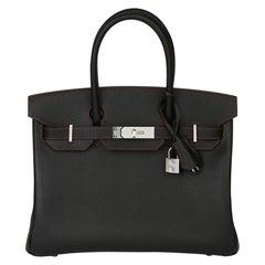 2021 Hermes Black Epsom & Rouge H Contrast Stitch Special Order HSS Birkin