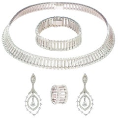 Intini Jewels Victorian 20.22 Carat 18 Karat White Gold Diamond Set