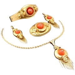 20.25 Carat Coral and Diamond 22 Karat Yellow Gold Jewelry Set Antique Victorian