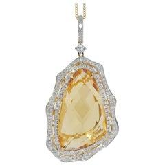 20.26 Carat Citrine and Diamond Pendant Necklace, 14 Karat Gold
