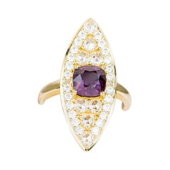 2.02ct Royal Purple Spinel 14k Gold Navette Ring Elongated French Cut AD1914