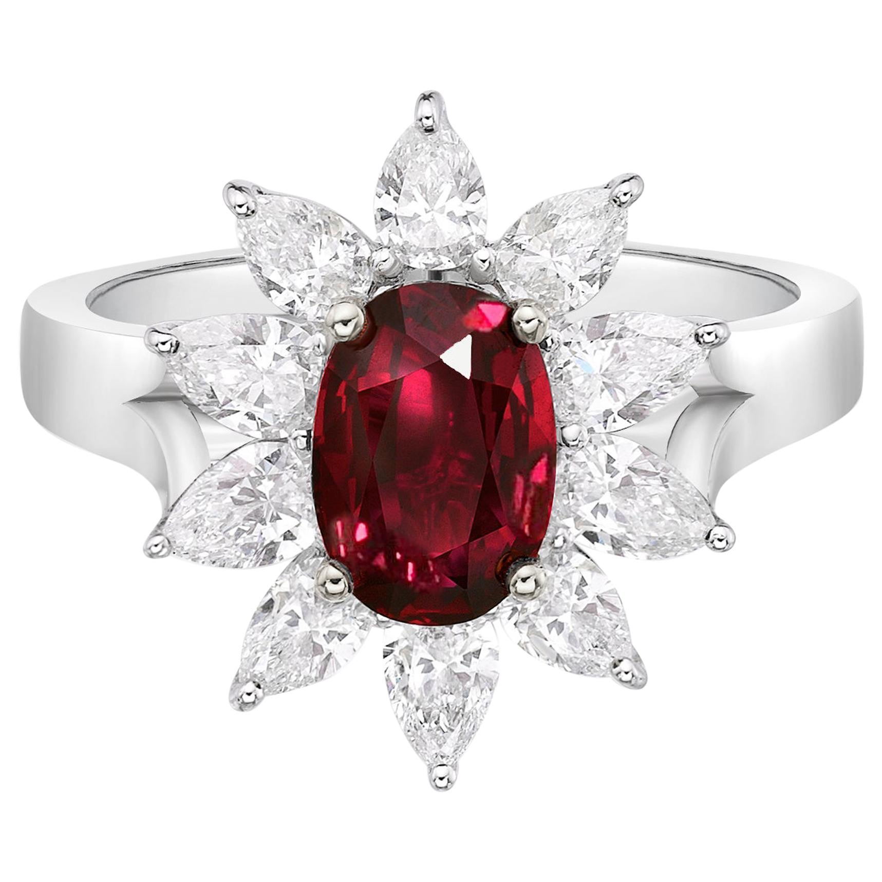 2.02 Carat Pigeon Blood Vivid Red Ruby GRS Certified Unheated Diamond Ring