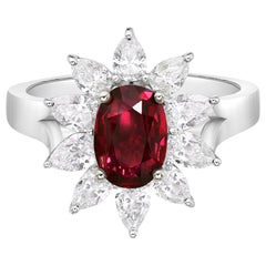 2.02 Carat Natural Non Heated Ruby GRS Certified Diamond Ring, Cushion Cut Ruby