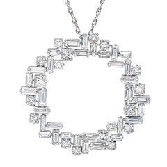 2.03 Carat Baguette 1.39 Carat Princess Cut Diamond  Circle Pendant Necklace