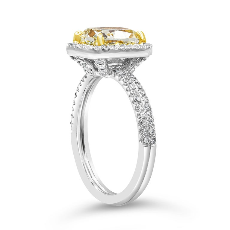 Contemporary Roman Malakov 2.03 Carat Cushion Cut Yellow Diamond Halo Engagement Ring For Sale