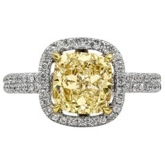 2.03 Carat Cushion Cut Yellow Diamond Halo Engagement Ring