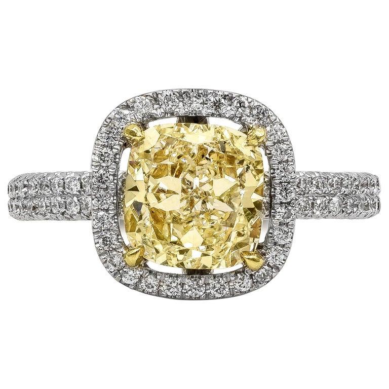 Roman Malakov 2.03 Carat Cushion Cut Yellow Diamond Halo Engagement Ring For Sale