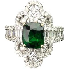 2.03 Carat Cushion Green Garnet and Diamond Cocktail Ring