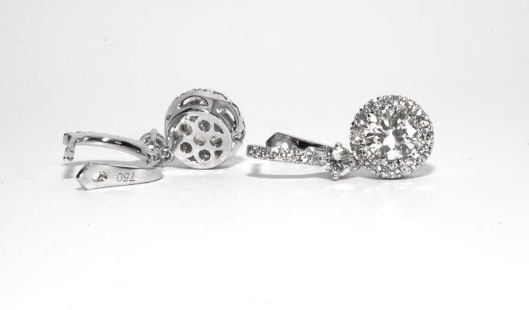 Contemporary 2.03 Carat Dangling Halo Diamond Earrings by The Diamond Oak For Sale