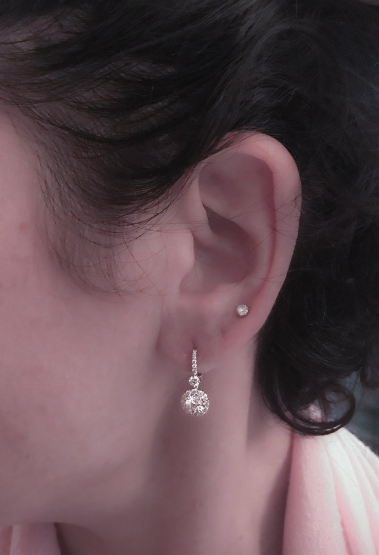 2.03 Carat Dangling Halo Diamond Earrings by The Diamond Oak In New Condition For Sale In New York, NY
