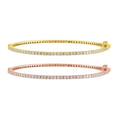 2.03 Carat Diamond All Around Gold Bangle Bracelet