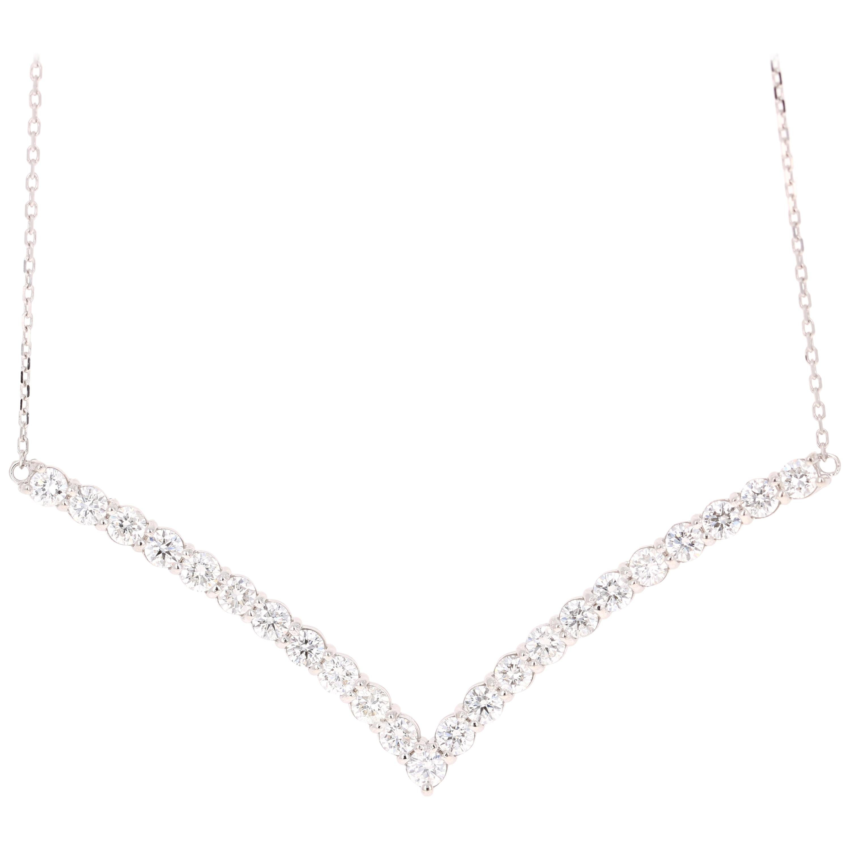 2.03 Carat Diamond Chain Necklace 14 Karat White Gold