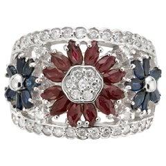 2.03 Carat Diamond Sapphire Ruby White Gold Flower Ring