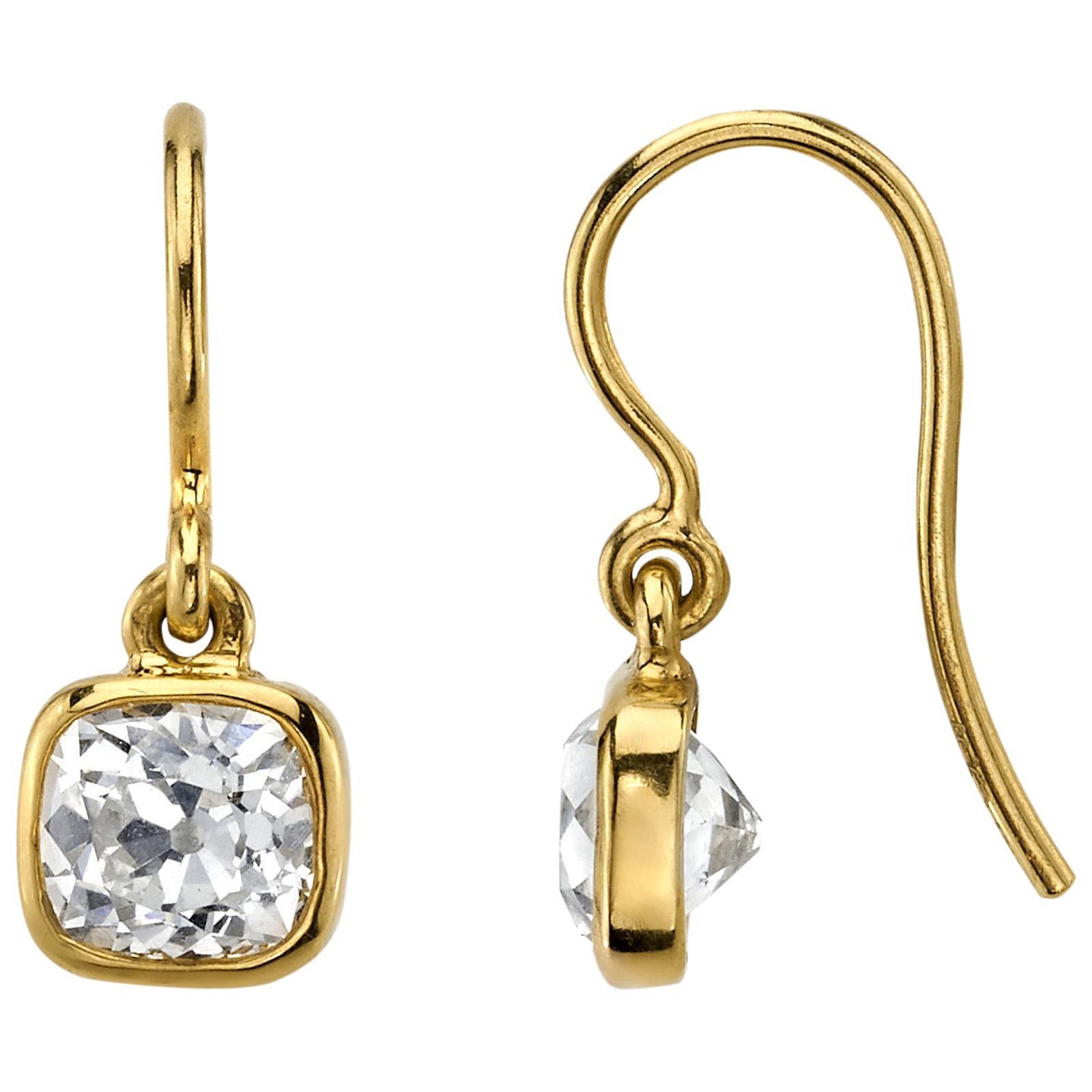 Handcrafted Anita Old Mine Cut Diamond Drop Earrings by Single Stone