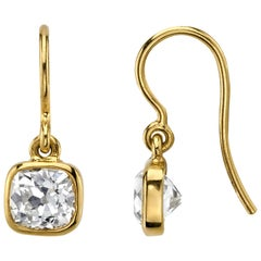 2.03 Carat EGL Certified Old Mine Cut Diamonds Set in 18K Gold Drop Earrings