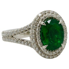 2.03 Carat Emerald and Diamond Halo Platinum Ring