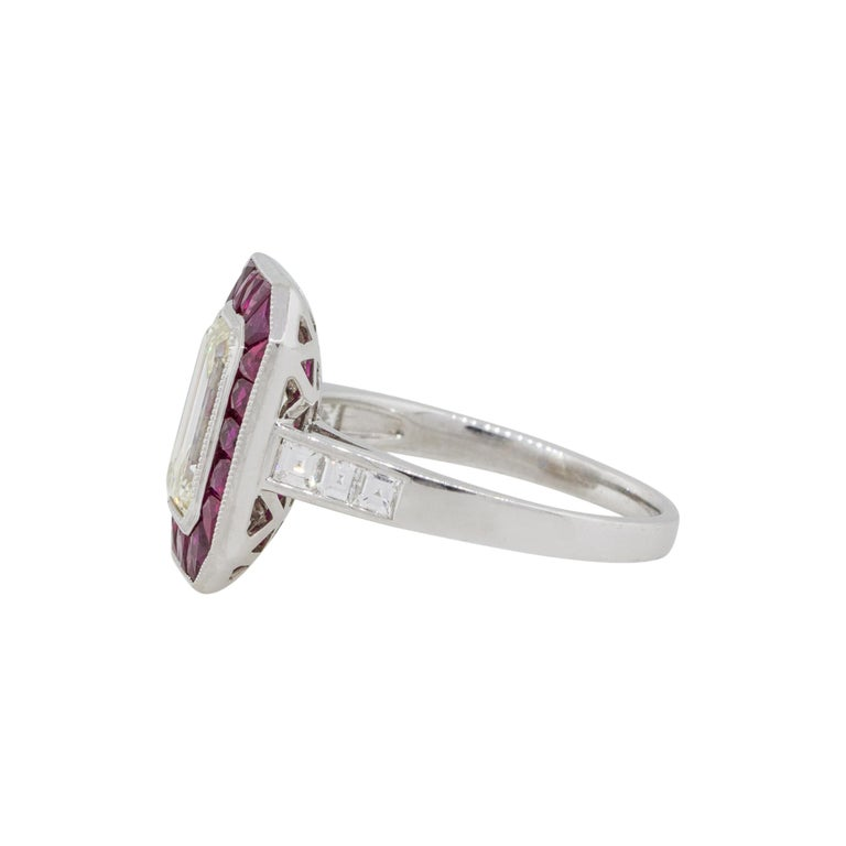 2.03 Carat Emerald Cut Diamond Center Ring with Rubies Platinum in Stock In New Condition For Sale In Boca Raton, FL