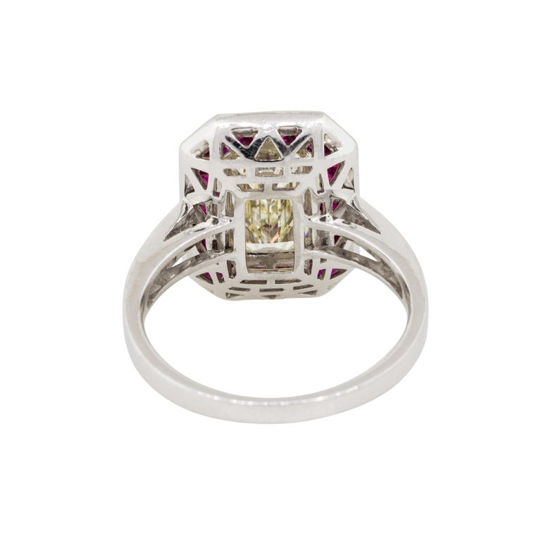 Women's 2.03 Carat Emerald Cut Diamond Center Ring with Rubies Platinum in Stock For Sale